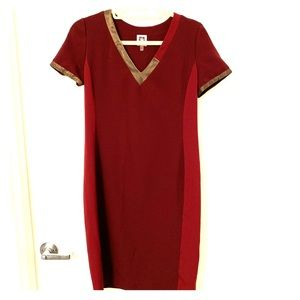 Anne Klein Burgundy Gold Asymmetrical Collar Dress